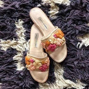 Manolo Blahnik raffia floral slides
